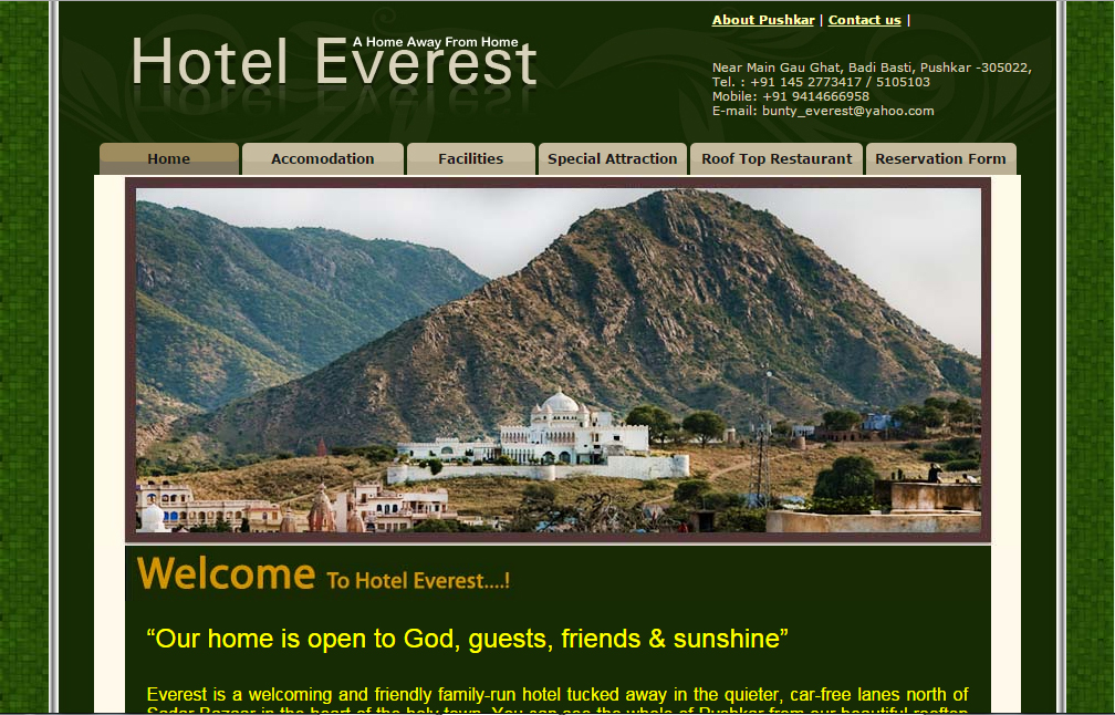Pushkar hotel Everest